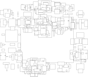 The very first automatically generated work that I made. The rectangles were meant to be contained and neatly packed within the large rectangle in the centre. The work still looks very artistic though. A space filling algorithm was used with strict rules. However, the algorithm was allowed to set the size of subdividing rectangles at random. Autonomy and randomness are the basis of the Generative Art that I try to adhere to.